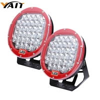 Marlaa 2pcs Red/ Black 9 Inch 96w Led Driving Work Light 12v 24v Led Offroad Light for SUV 4wd 4x4 Offroad Replacement Lights