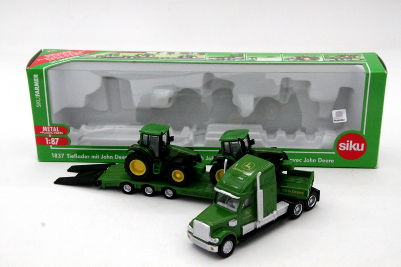 1:87 Siku 1837 Farmer Low Loader With 2 John Dere Tractors Models Diecasts Toy Vehicles Collection Gift