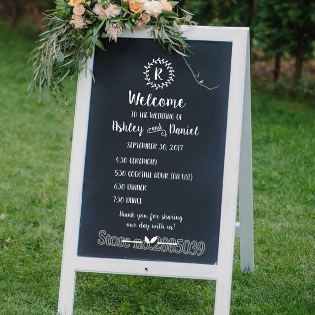 wedding schedule sign wall decal diy personalized wedding program