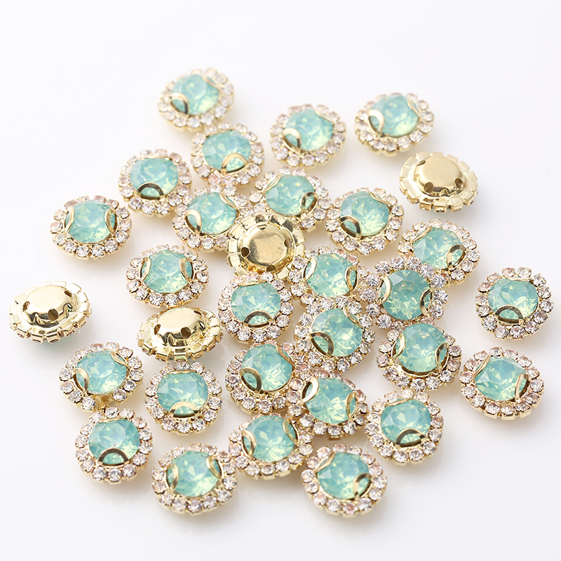 RESEN New Mix Opal Color 8mm Gold Sew On Round Rhinestones With Resin Opal pink green DIY Rivoli Sewing Stones With Gold Claw in Rhinestones from Home Garden