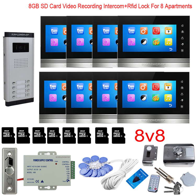 For 8 Apartments Video Recording Video Doorman With Camera Video Intercom With Lock Rfid 8GB 7