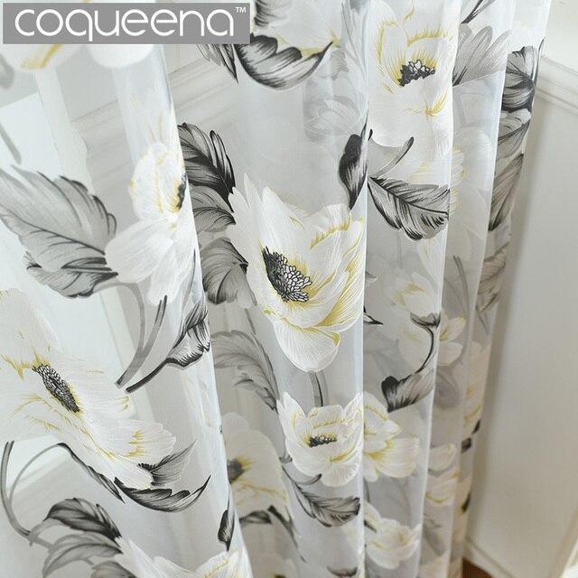 White Floral Gray Sheer Curtains For Living Room Bedroom Modern Tulle Window Panel Flower Pattern