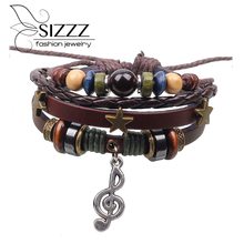Vintage Multi-layer Musical Charms Leather Bracelet Women Steam Punk Casual Jewelry Girls Birthday Gifts