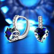 Hot Sales 925 Sterling silver jewelry AAA Zircon Earrings for Women brincos love heart blue Crystal Earrings Accessorie Wedding