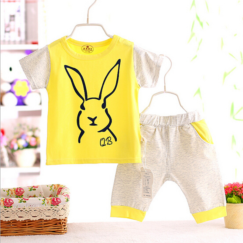 2016Brand Baby boy&girl clothes summer Cute Rabbit kids clothes sets t-shirt+pants suit clothing set Clothes newborn sport suits summer baby boy clothes set cotton short sleeved mickey t shirt striped pants 2pcs newborn baby girl clothing set sport suits