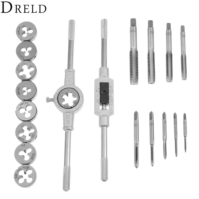 DRELD 20Pcs Inch Tap Dies Set 1/2''-6''NC Screw Thread Inch Plugs Taps Alloy Steel Hand Screw Taps Tap Die Wrench Set Hand Tools liplasting 32pcs professional metric hand tap set screw thread plugs straight taper reamer tools adjustable taps dies wrench