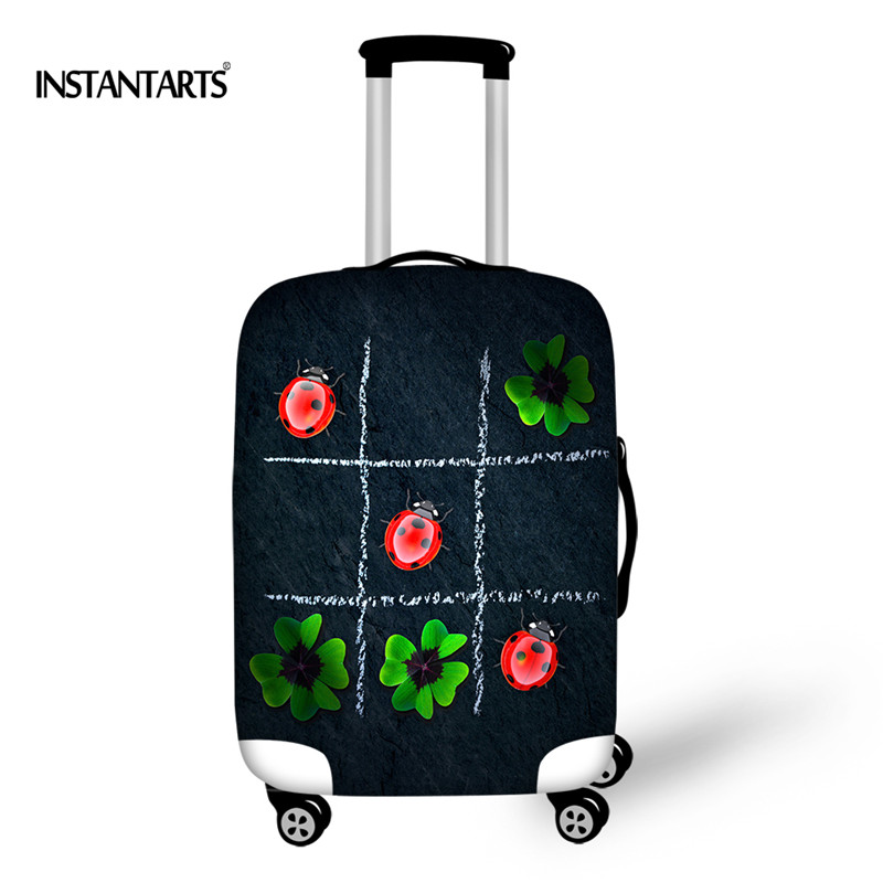 INSTANTARTS Newest Green Plants Print Luggage Covers For 18-30Inch Case Animal Ladybug Luggage Protective Coves Elastic Suitcase