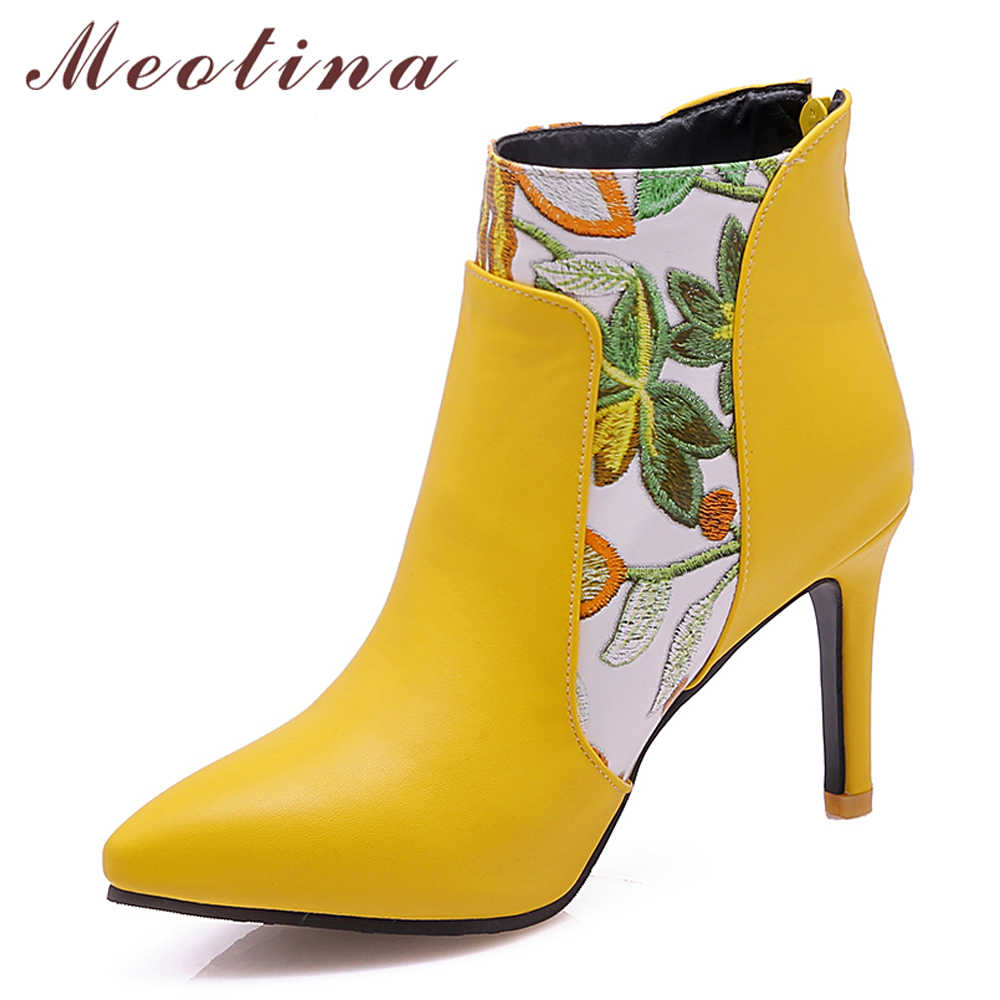 009115677d Meotina Shoes Women Boots High Heel Ankle Boots Flower Pointed Toe Stiletto  Short Boots Zip Female Footwear White Yellow 45 46