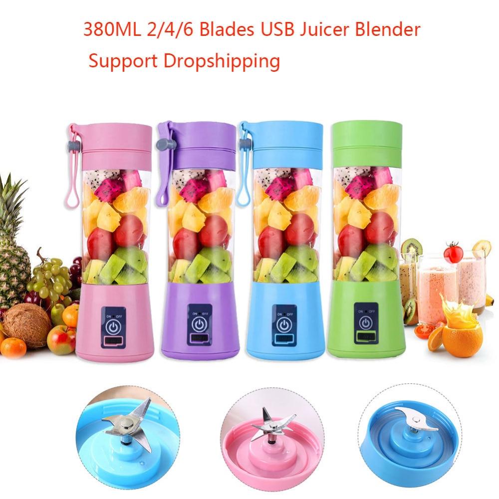 380ML Portable USB Juicer 2/4/6 Blades Handhels Bottle USB Electric Fruit Citrus Lemon Juicer Blender Squeezer Reamer Machine