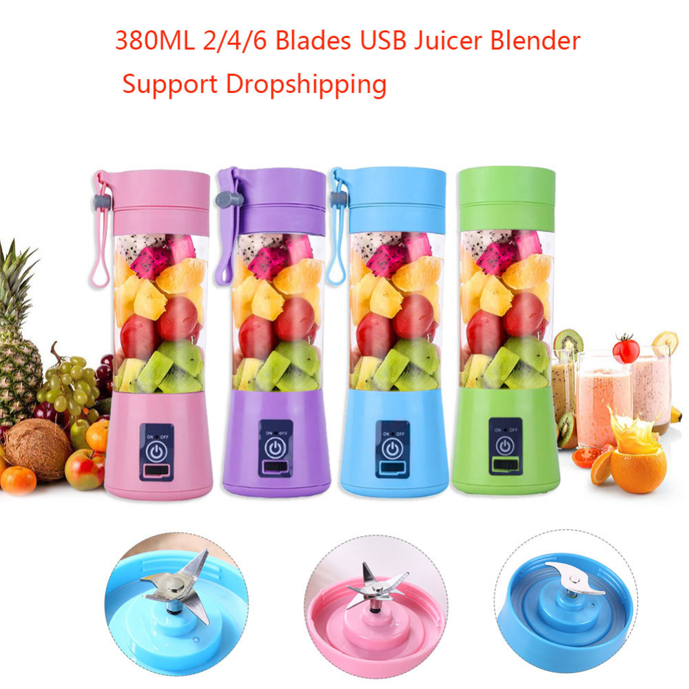 Portable USB Juicer 380ML 2/4/6 Blades Handhels Bottle USB Electric Fruit Citrus Lemon Juicer Blender Squeezer Reamer Machine