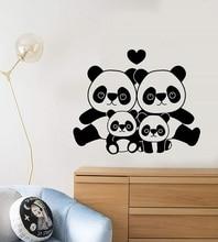 Vinyl wall decal cartoon panda family, Asian animal children room decoration stickers, kindergarten classroom  ET35