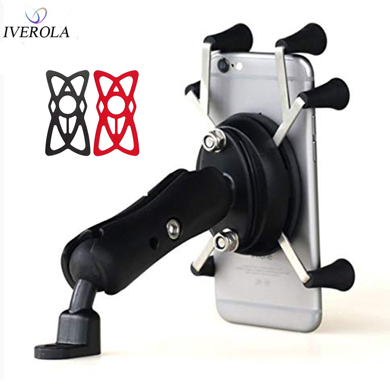 Motocicleta Bicicleta MTB Bicicleta Soporte para teléfono Manillar Espejo Vista posterior Montaje Universal X-Grip Soporte para teléfono móvil para Iphone 7/7 Plus