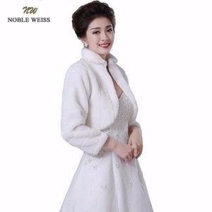 Image 1 - NOBLE WEISS Discount long sleeve wedding jacket Bride cape winter bride fur shawl bolero women wedding coat ivory color 0847