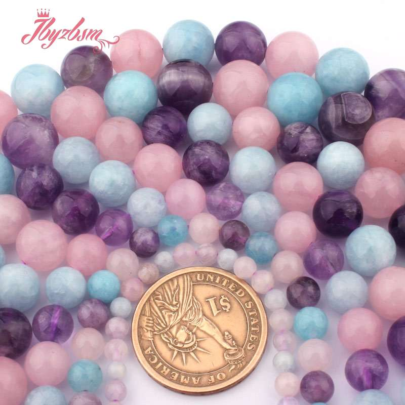 4,6,8,10,12mm Round Lavender Aquamarines Amethysts Mixed Quartzs Loose Beads 15For DIY Jewelry Making,Wholesale Free Shipping