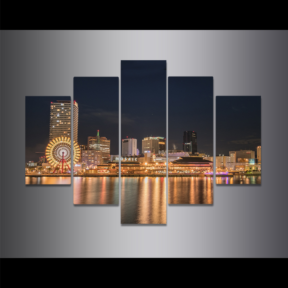 Unframed Canvas Painting City Night Scene Surface Lighting Picture Prints Wall Picture For Living Room Wall Art Decoration