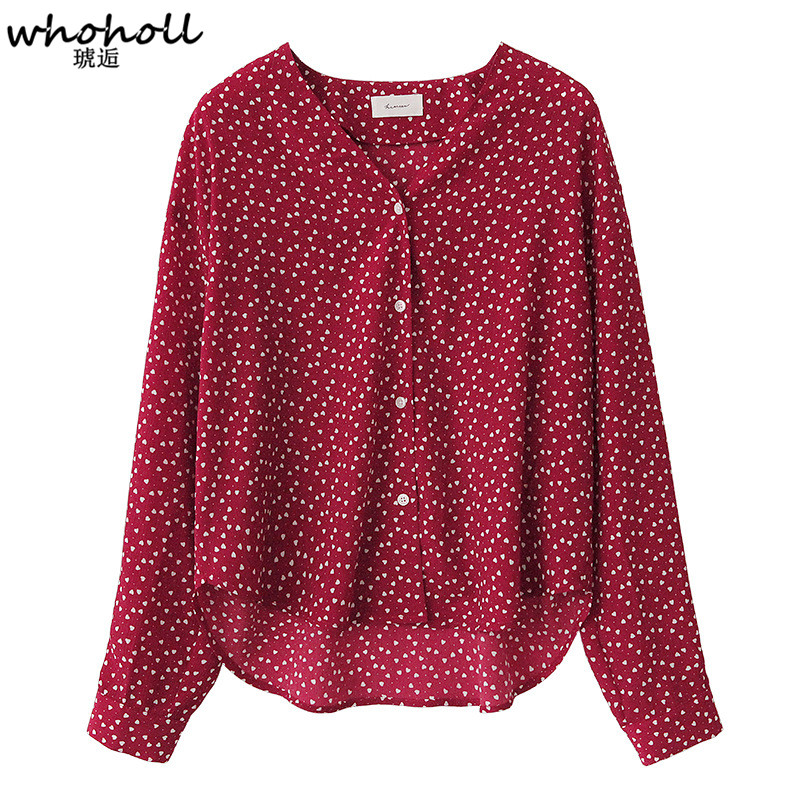 WHOHOLL V Neck Chiffon Blouse Red Polka Dots Spring Summer Romantic Shirt Women Top Chemise Femme Chemisier Blusa Mujer in Blouses amp Shirts from Women 39 s Clothing