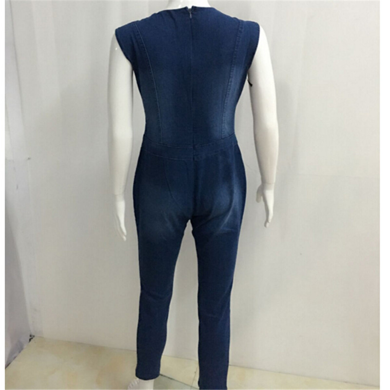 5ad8fd00f380 Batoneur blue jean bodysuit skinny denim jumpsuit women Sexy Rompers Front  tie up Sleeveless -in Jumpsuits from Women s Clothing on Aliexpress.com