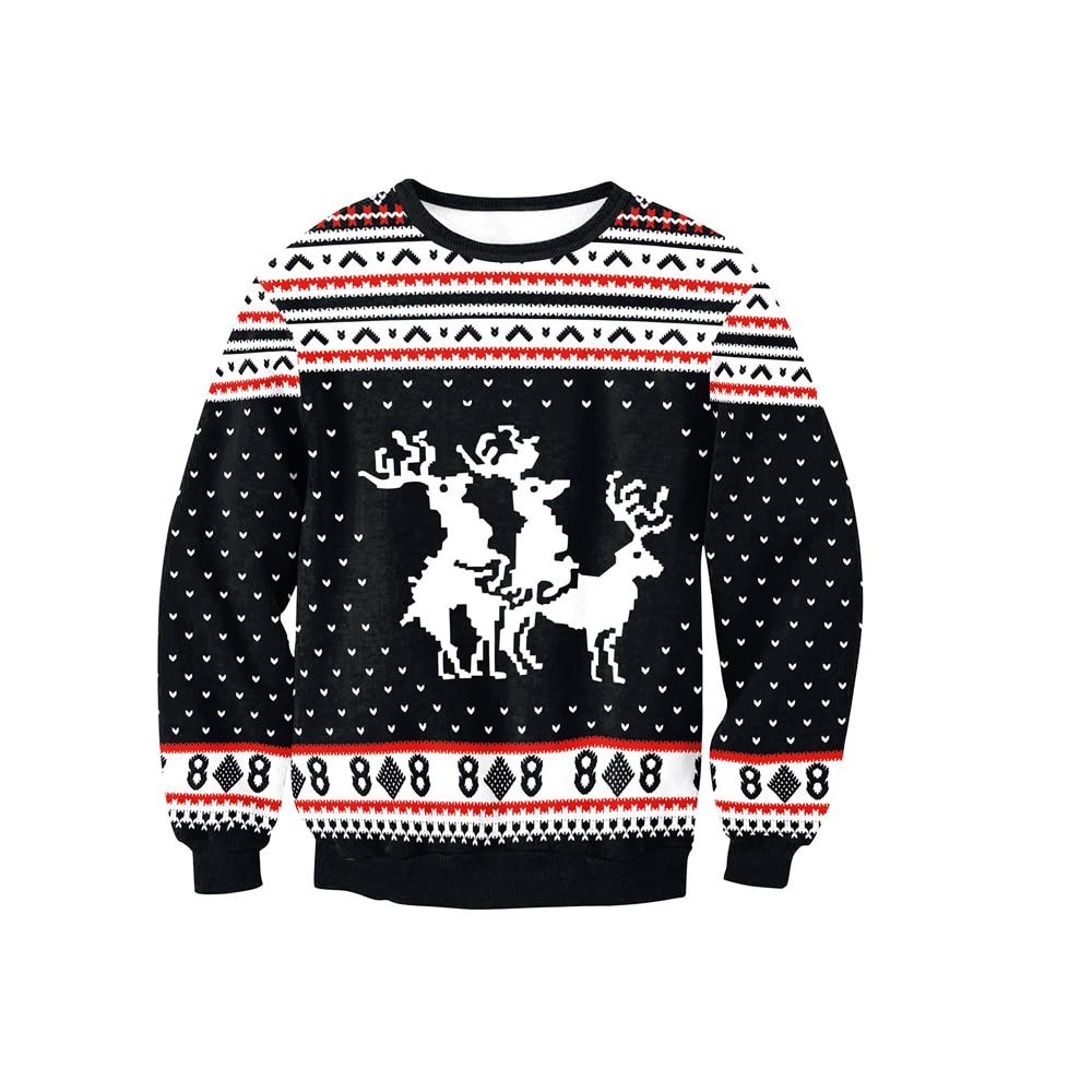 f8c78581357370 Vrouwen Kerst Trui Xmas Lange Mouw Rendieren Kerst Herten Patroon Borduren  Gebreide Party Casual Jumper