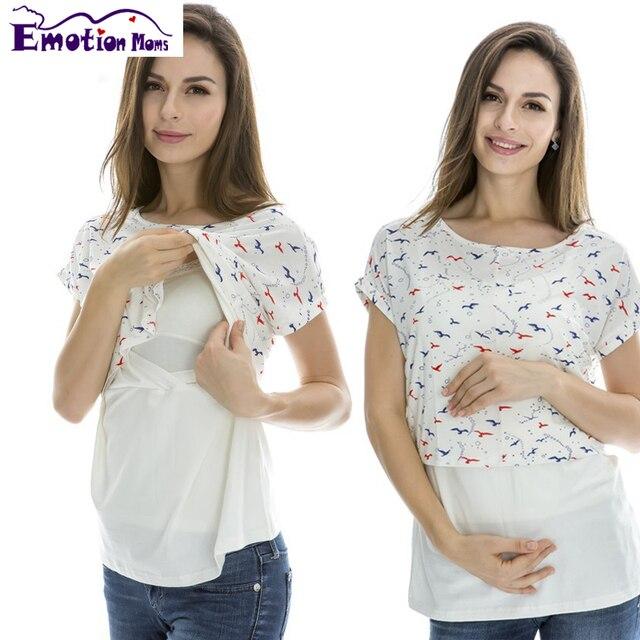 Эмоции Мам одежда Для Беременных рубашка материнства уход топ Грудное Вскармливание Топ беременность Одежда для Беременных Топы Материнства