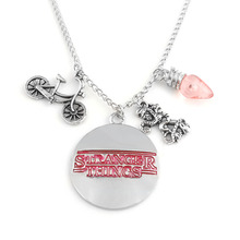 ФОТО stranger things charm necklace letter logo pink light bulb tentacle monster bicycle bike pendant necklaces women men jewelry