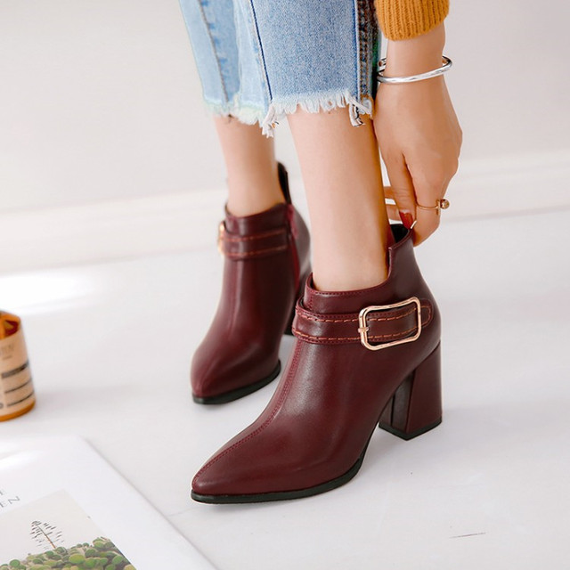 efb544181a2 PXELENA Newest 2018 Winter Hot Women Ankle Boots Square High Heels Short  Boots Lady Shoes Date Office Buckle Decor Side Zipper