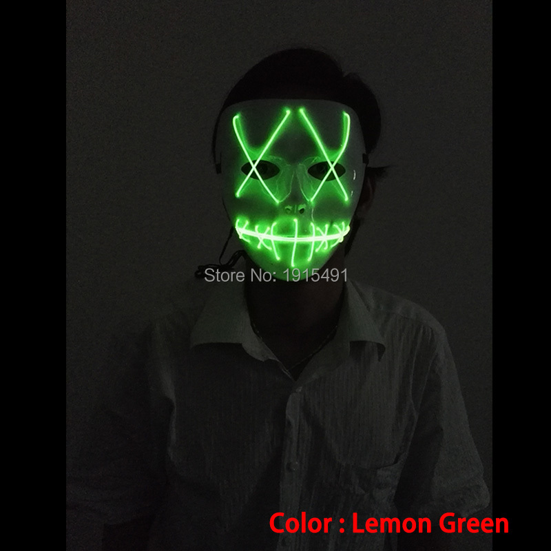 10 Color Optional Sparkling Holiday Lighting Neon glowing light Mask Christmas Electroluminescent wire Mask for Dance PartyDJ