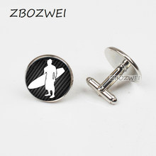 ZBOZWEI 2018 New Surfer Cufflinks Surfing Up Gift for him Go Surfing Ocean Cuff Great Wave Sport Nature Sea Cool Gifts(China)