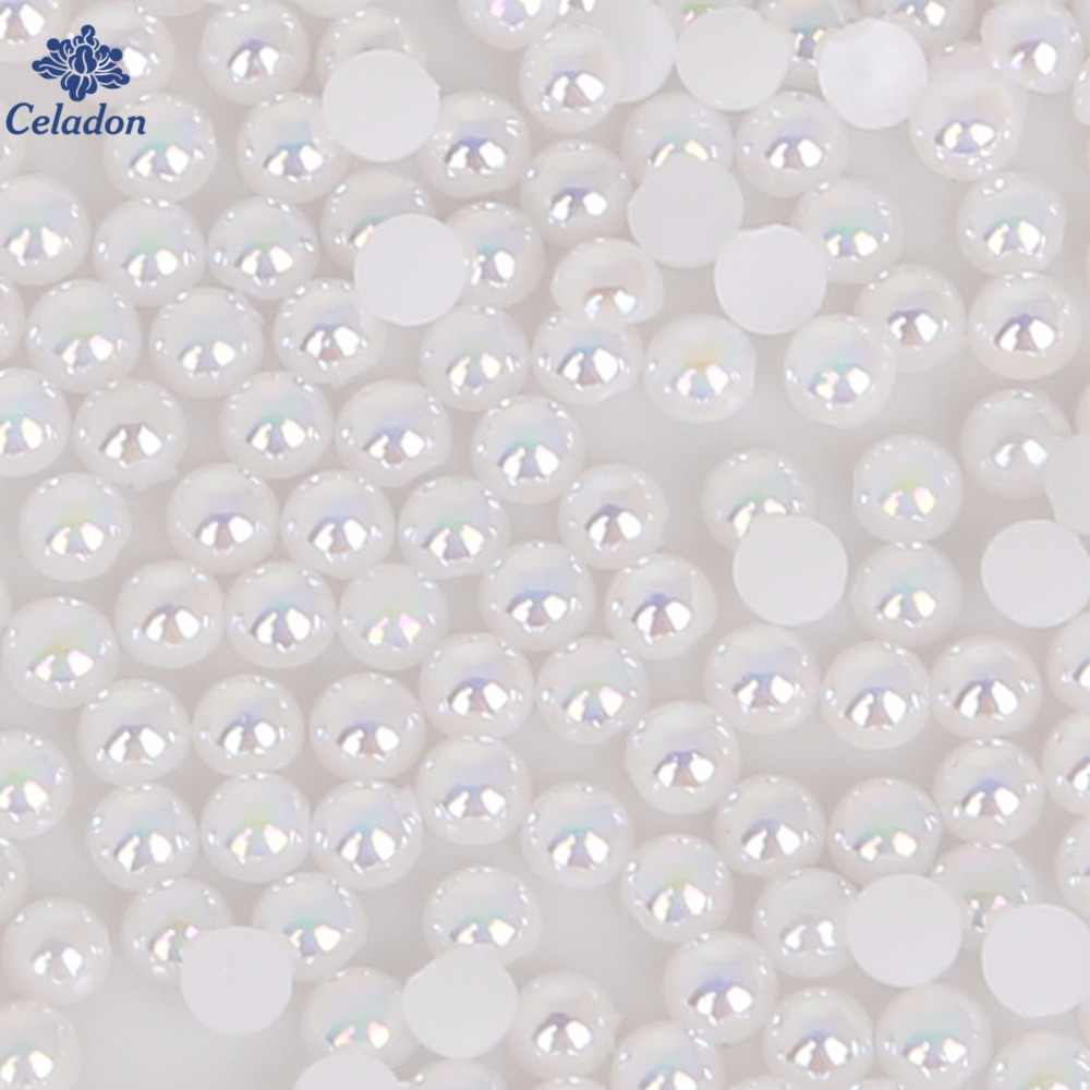 50-1000pcs White Colors Imitation Pearls Craft Half Round Flatback Beads Garment Decoration For Sewing Bag BHigh Quality