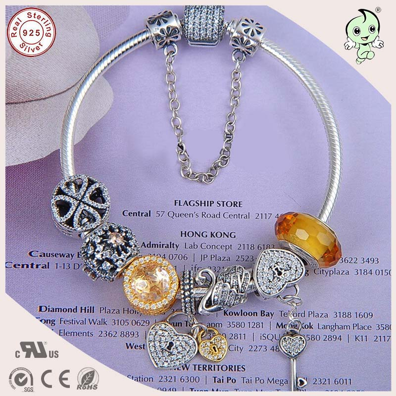 цена Yellow summer style High Quality Popular Yellow Charm Series 925 Real Silver Charm Bracelet for women