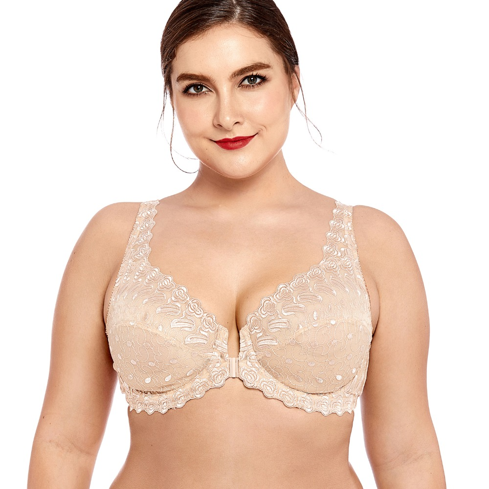 a8f4cdf5323 Women s Lace Front Close Unlined Plus Size Support Embroidered Underwired  Bra
