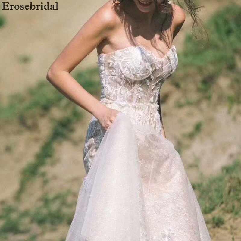 38a35277a ... Erosebridal Contrast Color Mermaid Wedding Dress 2018 Low Sweetheart  Robe De Mariee with Chapel Train Lace ...