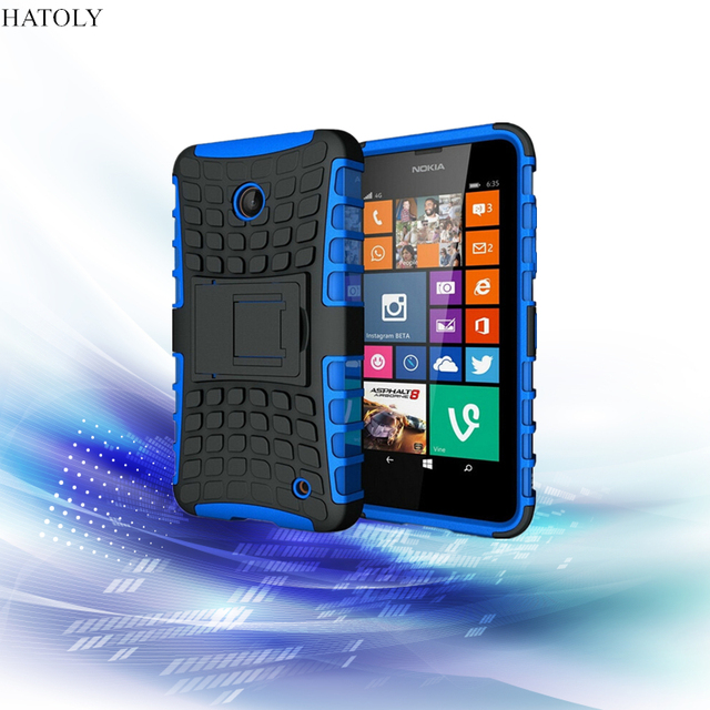premium selection 2bd1a 58f1f US $2.62  HATOLY For Nokia Lumia 635 Case Heavy Duty Armor Shockproof Hard  Back Plastic Rubber Phone Case Cover for Lumia 638 630 636-in Fitted Cases  ...