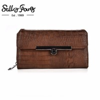2017 Sally Young International Brand Women Wallet Long Purse Button Hasp And Zipper Closure Wallet 5