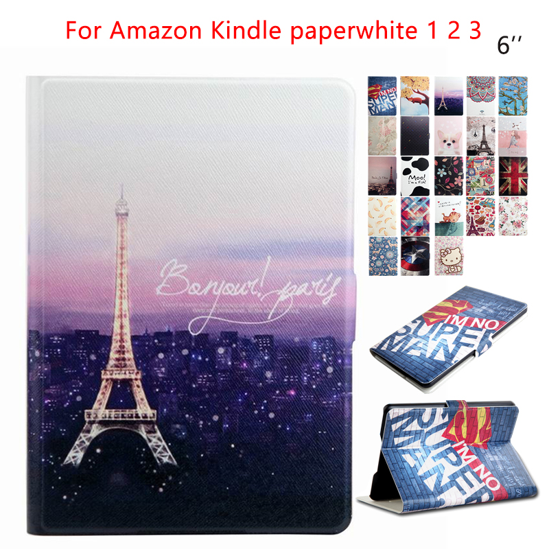 for Amazon Kindle Paperwhite Tablet Case PU Leather 6'' E-Book Ebook Stand Case Cover Fundas for Amazon Kindle Paperwhite 1 2 3 pu leather ebook case for kindle paperwhite paper white 1 2 3 2015 ultra slim hard shell flip cover crazy horse lines wake sleep