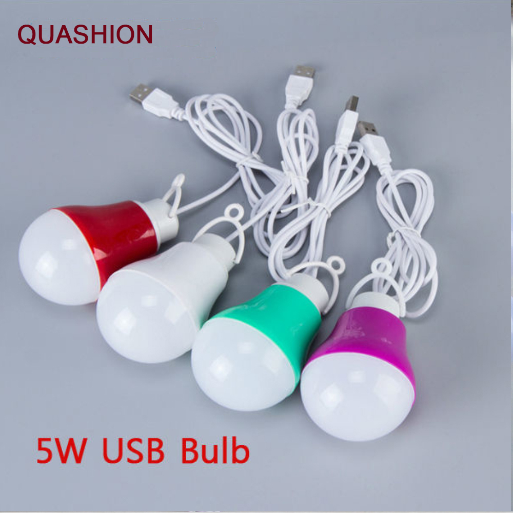 Colorful PVC <font><b>5V</b></font> 5W <font><b>USB</b></font> Bulb Light portable Lamp LED 5730 for hiking camping Tent travel Work With Power Bank Notebook image