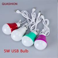 Kleurrijke PVC 5 v 5 w USB Lamp Licht draagbare Lamp LED 5730 voor wandelen camping Tent reizen Werken Met power Bank Notebook-in Leeslampen van Licht & verlichting op