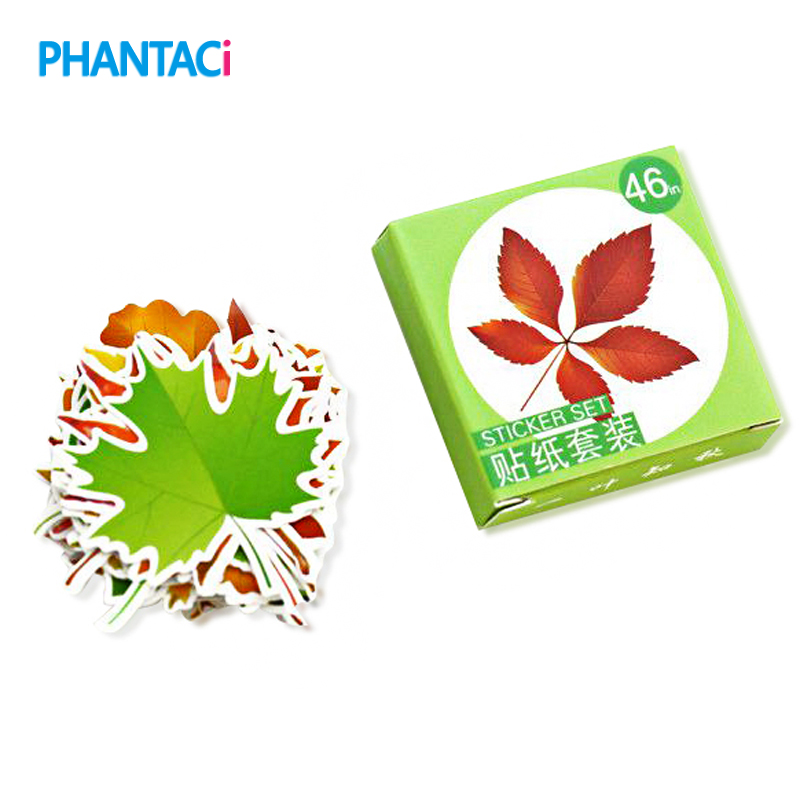 46 pcs/set Cute Mini Spring And Fall Leaves Shape Stickers Decorative DIY Scrapbooking Diary Decor  Leaves Stickers Stationery