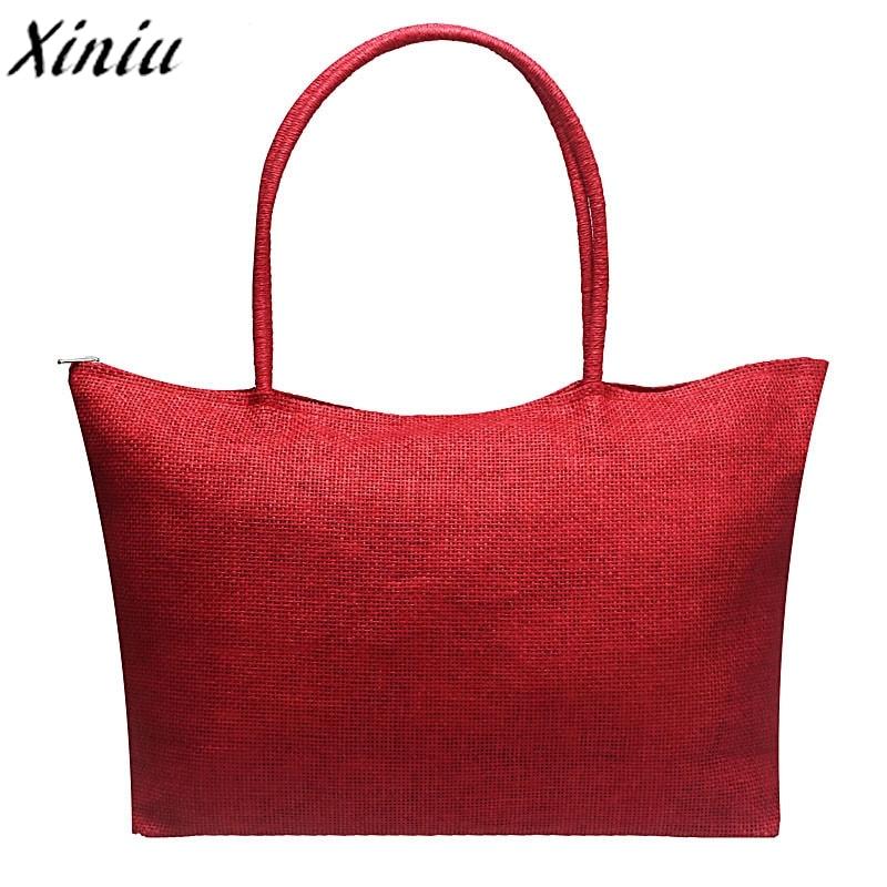 Simple Beach Bags Candy Color Large Straw Women Handbag Solid Color Casual Shoulder Bag Shopping Bag Bolsa De Praia *7710