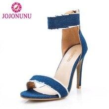 9b63fd9f49e3fe JOJONUNU Sexy Women High Heel Sandals Zipper Denim Open Toe Thin Heel  Sandals Summer Party Club