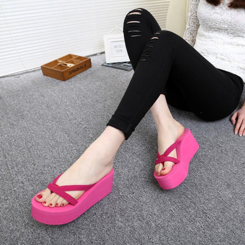 Compre Venta CALIENTE Plataforma Sandalias De Mujer Zapatos De Tacón Alto Zapatillas Chinelo 2018 Moda De Verano Zapatillas Sin Tirantes Chanclas