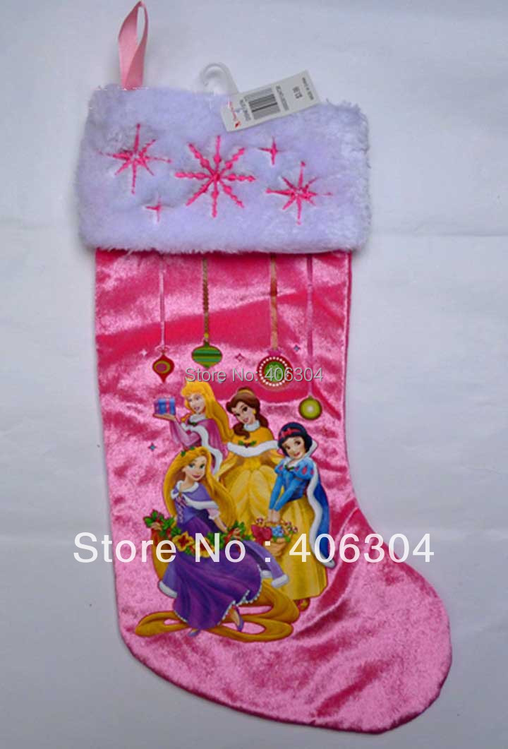 "Free Shipping. ,40cm 15.7"" high quality pink princess Plush Cartoon Christmas stockings Xmas sock children gift bag"