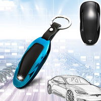 1PC New Blue Fashion Zinc Alloy+Leather Car Key Case Bag Auto Key Protective Cover Skin Shell For Tesla Model S Car Accessories