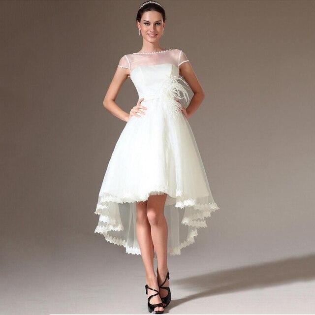 2015 New Hi Lo Organza Wedding Dresses Scoop Sheer Neck