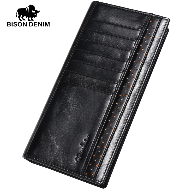 BISON DENIM 100% Genuine leather Long Wallet Men Cowskin Purses Oil Wax Card Organizer Men Clutch Wallets Luxury Clutch W4406-1