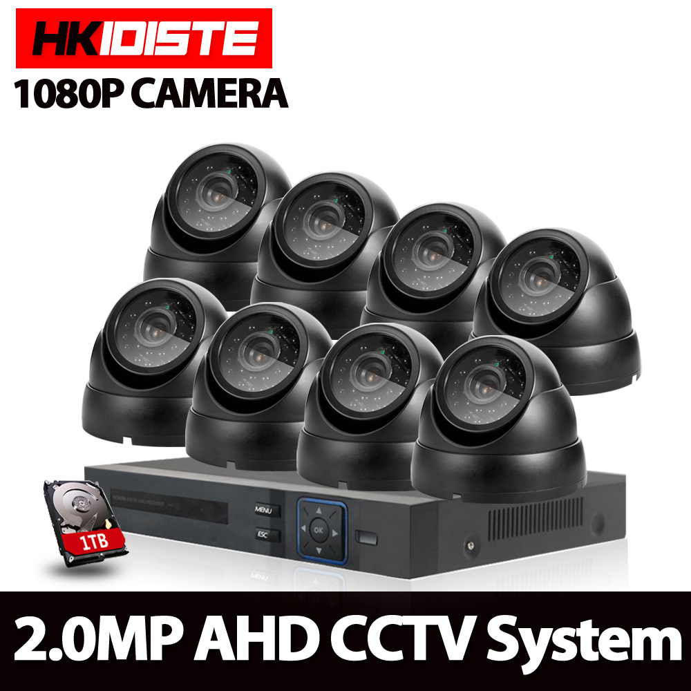 8CH 1080N HDMI DVR HD Dome Indoor Outdoor 1080p Black Security Camera System 8 Channel CCTV