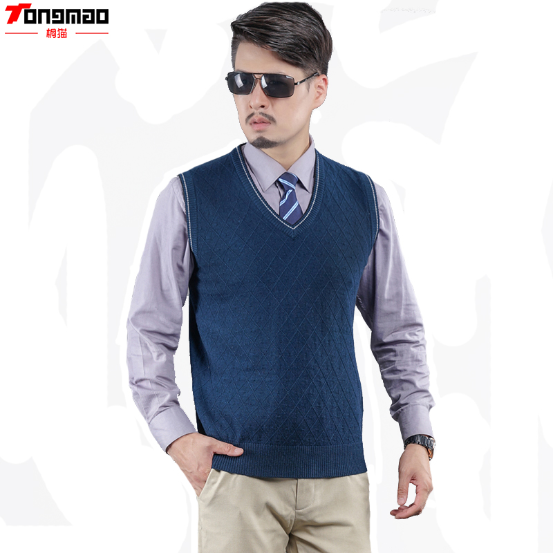 Autumn&Winter Mens Sleeveless Wool Knitted V-neck Solid Vest Business Casual Sweater Mature and stable ...