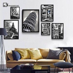 Пизанская башня с Эйфелевой башней, минималистичный художественный холст, черно-белый постер, Настенная картина, Современное украшение для...