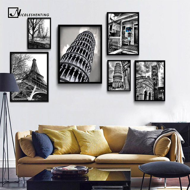 Leaning Tower Of Pisa Eiffel Minimalist Art Canvas Poster Black White Building Wall Picture Modern Home Room Decoration