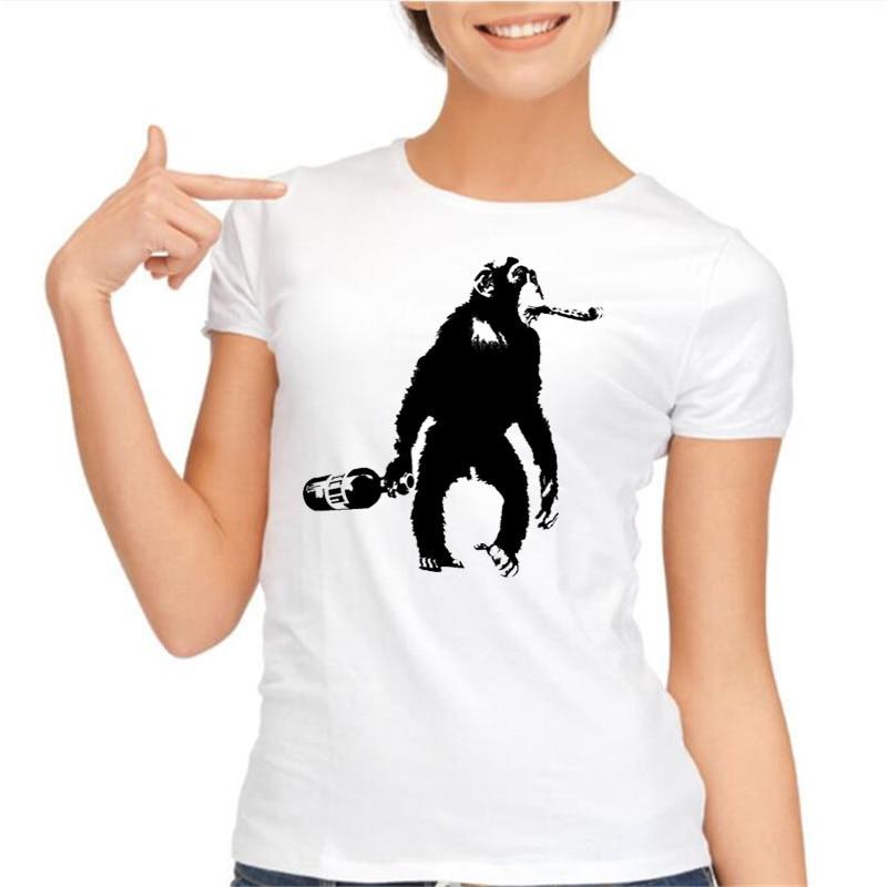 animal gas monkey Digital Printed T shirt Homme Domesticated Monkey Design T shirt 2017 summer womens clothes t shirt