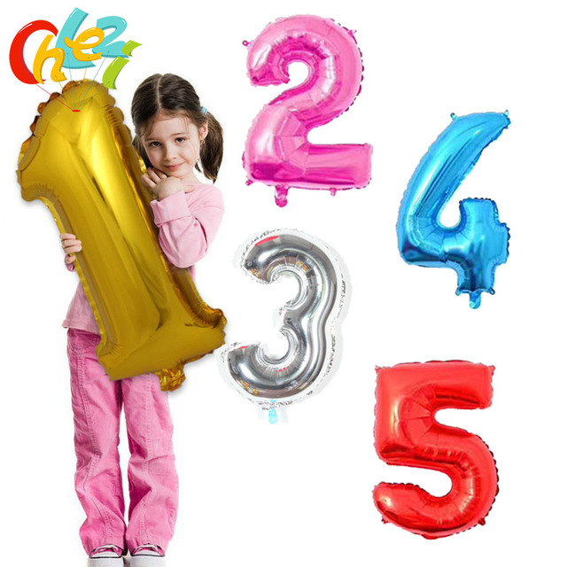 32 inch Number balloon 1 2 3 4 5 Number Digit Helium foil Ballons Baby Shower Birthday Party Wedding Decor Balloons Supplies